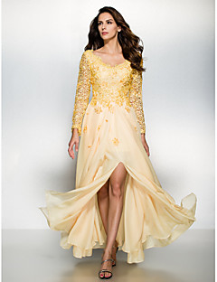 Formal Evening Dress - Daffodil A-line V-neck Floor-length Chiffon / Lace
