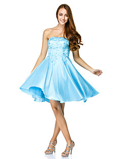 TS Couture Cocktail Party Dress - Pool A-line Strapless Knee-length Tulle