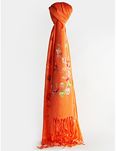 Shawls Scarves Sleeveless Imitation Cashmere Pool / Fuchsia / Clover / Orange / Red Casual Embroidery / Flower(s) / Tassels
