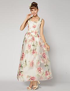 Платье для подружек невесты - Белый Бальное платье На лямках Длина по щиколотку Органза