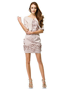 Cocktail Party Dress Sheath / Column Straps Short / Mini Charmeuse with Flower(s)