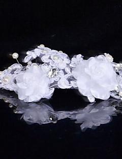 Dame Satin / Blonde / Rhinsten / Imiteret Perle Medaljon-Bryllup / Speciel Lejlighed Blomster 1 Stykke Hvid