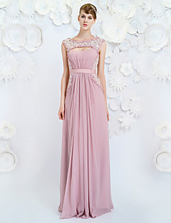 Formal Evening Dress A-line Jewel Floor-length Chiffon with Appliques / Beading