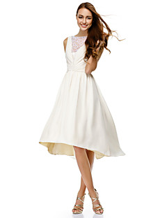 TS Couture® Cocktail Party Dress - Ivory A-line Bateau Knee-length Chiffon
