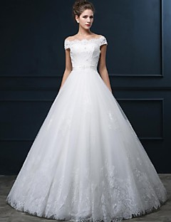 A-line Wedding Dress Floor-length Off-the-shoulder Tulle with Appliques