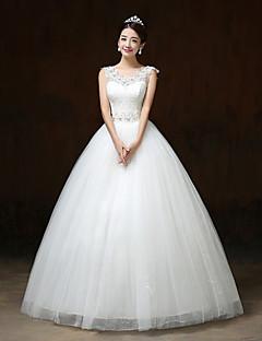 Ball Gown Wedding Dress-Floor-length V-neck Lace / Satin / Tulle