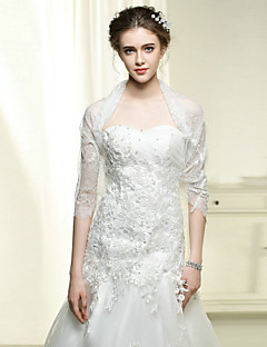 Wedding / Party / Evening Wraps Bride Embroidery Shrugs Half-Sleeve Cotton / Lace White