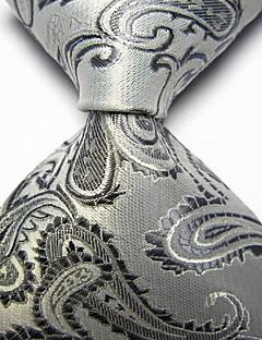 Men Wedding Cocktail Necktie At Work White Gray Flower Tie