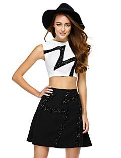 Cocktail Party Dress - Ivory / Black A-line Jewel Short/Mini Chiffon