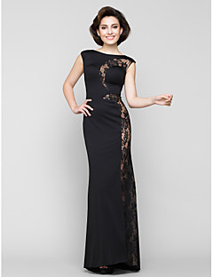 Trumpet/Mermaid Mother of the Bride Dress - Black Sweep/Brush Train Sleeveless Lace / Jersey