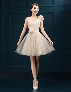 Short/Mini Tulle Bridesmaid Dress - Champagne Sheath/Column One Shoulder