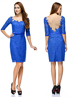 Vestito - Royal Blue Cocktail Tubino Tondo Cocktail Pizzo