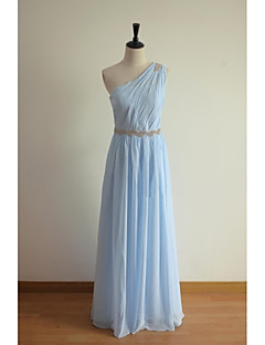 Floor-length Chiffon Bridesmaid Dress A-line One Shoulder with Beading / Sash / Ribbon