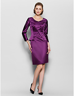 Sheath / Column Mother of the Bride Dress Knee-length 3/4 Length Sleeve Satin with Buttons