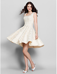 Lanting Bride Knee-length Lace Bridesmaid Dress A-line Square with Lace