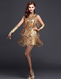 Latin Dance Dresses Women's Performance Polyester Sequins / Tassel Dress with /Gloves/Neckwear