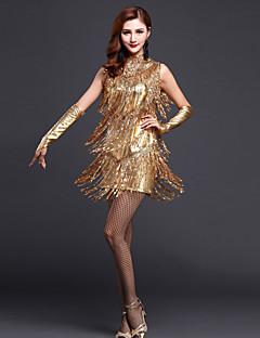 라틴 댄스 드레스 여성용 성능 폴리에스터 반짝이 / 술 4 개 민소매 높음 장갑 / 드레스 / Neckwear 75-79cm