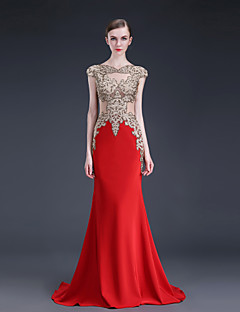 Formal Evening Dress - Ruby / Black Sheath/Column Jewel Floor-length Stretch Satin / Knit