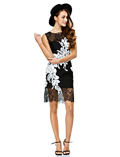 TS Couture® Cocktail Party Dress - Black Sheath/Column Scoop Short/Mini Lace
