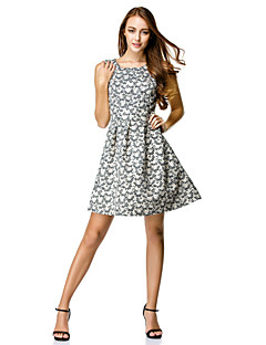 Cocktail Party Dress A-line Scoop Knee-length Polyester with Pattern / Print