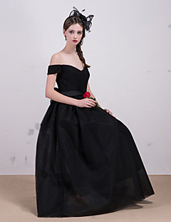 Formal Evening Dress - Black A-line Bateau Tea-length Lace / Tulle