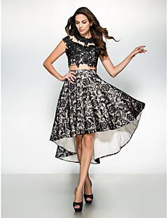 Formal Evening Dress - Black A-line Jewel Asymmetrical Lace