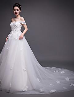 웨딩 드레스 - 아이보리(색상은 모니터에 따라 다를 수 있음) A 라인 채플 트레인 스트랩 오르간자