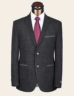 Suits Slim Fit Notch Single Breasted Two-buttons Wool & Polyester Blended Solid 1 Piece Dark Gray