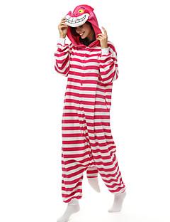 着ぐるみ パジャマ ネコ チェシャ猫 レオタード/着ぐるみ イベント/ホリデー 動物パジャマ ハロウィーン ストライプ フリース きぐるみ ために 男女兼用 ハロウィーン