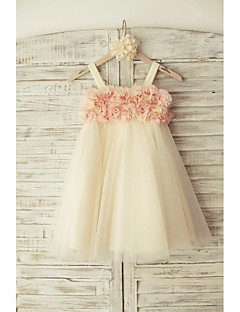 Sheath/Column Knee-length Flower Girl Dress - Tulle Sleeveless