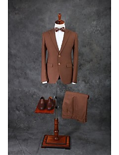 Suits Tailored Fit Notch Single Breasted Two-buttons Cotton Blend Solid 3 Pieces Brown