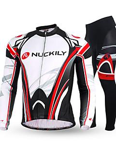 Nuckily Calça com Camisa para Ciclismo Homens Manga Longa Moto Calças Conjuntos de Roupas Térmico/Quente Design Anatômico Forro de