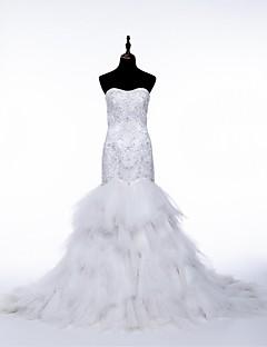 웨딩 드레스 - 화이트 트럼펫/멀메이드 채플 트레인 튜브탑 튤