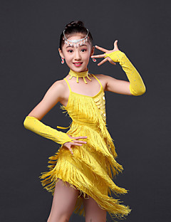 Latin Dance Dress / Children's Performance Sweet Fashion Rhinestones / Tassel Dress 4 Pieces
