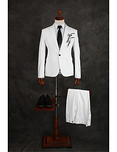 Suits Tailored Fit Slim Peak Single Breasted One-button Cotton Blend Solid 2 Pieces White Straight Flapped Double (Two) White Double (Two)