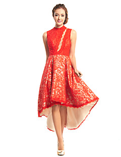 Cocktail Party Dress A-line High Neck Asymmetrical Lace