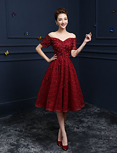 Formal Evening Dress - Burgundy A-line Off-the-shoulder Tea-length Lace