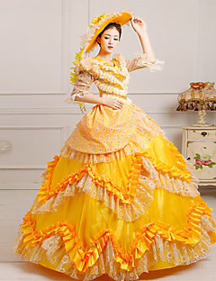 One-Piece/Dress Classic/Traditional Lolita Steampunk® / Victorian Cosplay Lolita Dress Yellow Print Half-Sleeve Long Length Dress / Hat