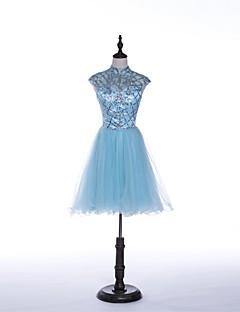 Dress - Sky Blue A-line Jewel Short/Mini Tulle