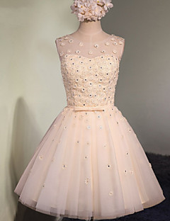 Short / Mini Tulle Bridesmaid Dress A-line Scoop with Appliques / Crystal Detailing