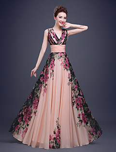 Formal Evening Dress-Pearl Pink A-line Queen Anne Floor-length Chiffon