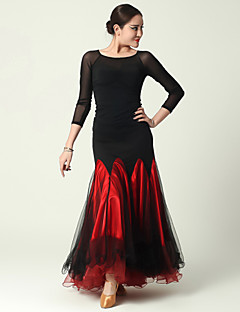 Imported Nylon Viscose and Tulle with Draped Ballroom Dance Outfits for Women's Performance(More Colors)