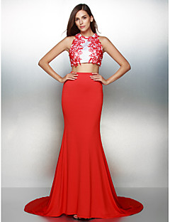 Formal Evening Dress - Multi-color Trumpet/Mermaid Jewel Court Train Jersey