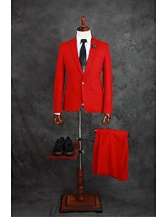 Suits Moderno Notch/ Paletó Comum 1 Butão Misto de Algodão Cor Solida 2 Peças Vermelho Lapela Reta Duas Pregas Vermelho Duas PregasBotões