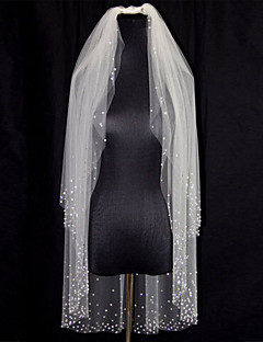 White / Ivory Wedding Veil Two-tier Rhinestone Beaded Edge With Comb