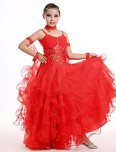 Latin Dance Outfits Children's Performance Chiffon Draped 5 Pieces Green / Pink / Red / White Latin Dance / Samba Sleeves / Dress