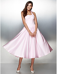 TS Couture® Prom  Formal Evening Dress A-line Halter Tea-length Satin with Bow(s)