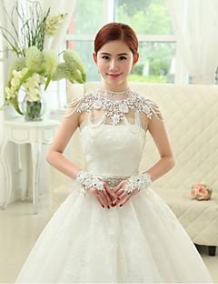 Wraps Wedding Mantelline Senza maniche Pizzo / Organza / Paillettes Bianco Matrimonio / Da sera DolcevitaCon perline / Con cristalli /