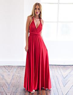 Sukienka - Obuwie damskie - Warstwy materiały - Maxi - Bez rękawów - Głęboki dekolt w serek