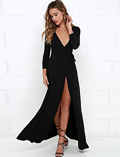 Women's Party/Cocktail Sexy Bodycon Dress,Solid Deep V Maxi Long Sleeve Black Cotton / Spandex Fall